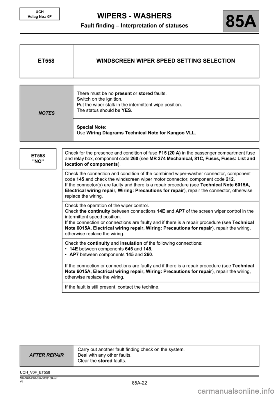 RENAULT KANGOO 2013 X61 / 2.G Wipers And Washers Workshop Manual, Page 22