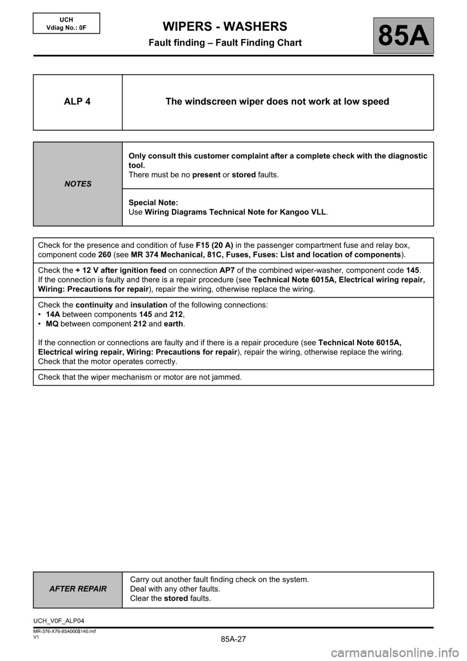 RENAULT KANGOO 2013 X61 / 2.G Wipers And Washers Workshop Manual, Page 27