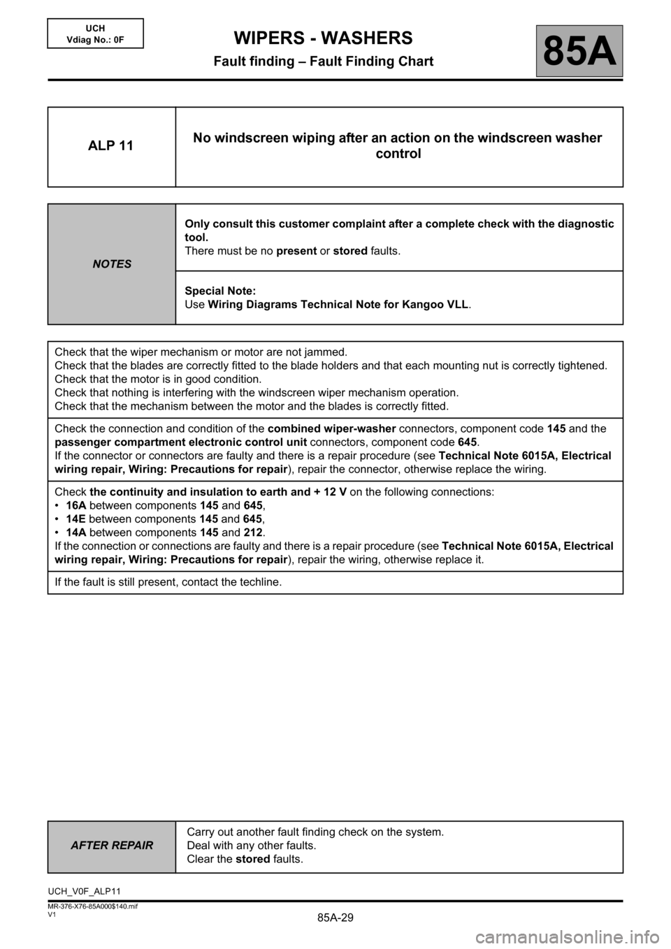 RENAULT KANGOO 2013 X61 / 2.G Wipers And Washers Workshop Manual, Page 29