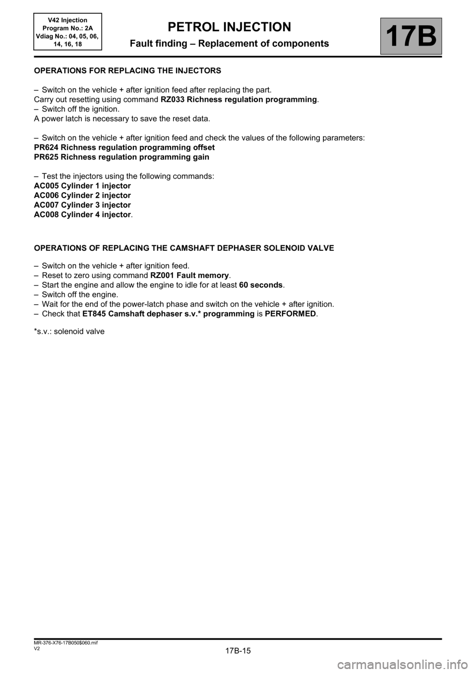 RENAULT KANGOO 2013 X61 / 2.G Petrol V42 Injection Workshop Manual, Page 15