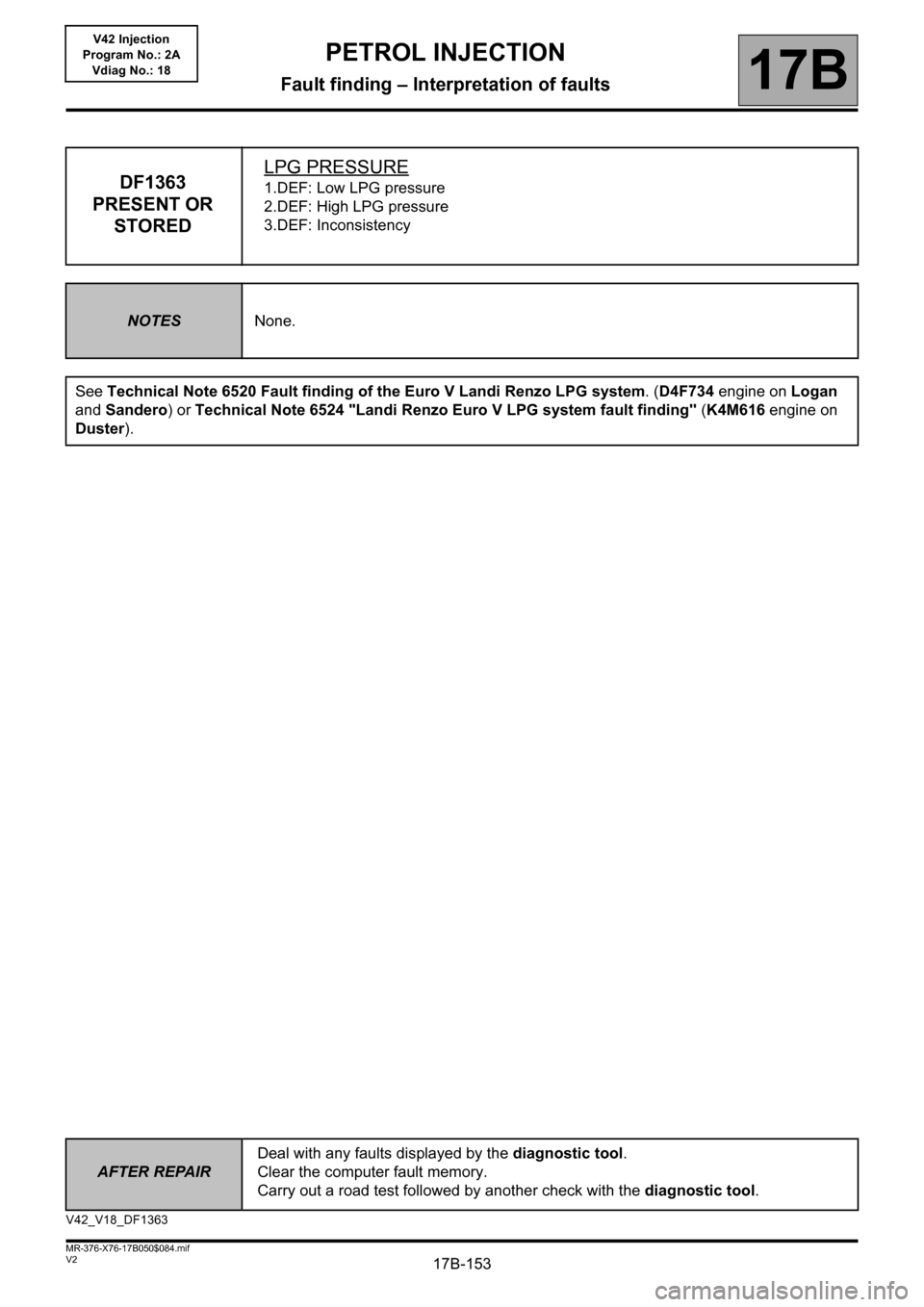 RENAULT KANGOO 2013 X61 / 2.G Petrol V42 Injection Workshop Manual, Page 153