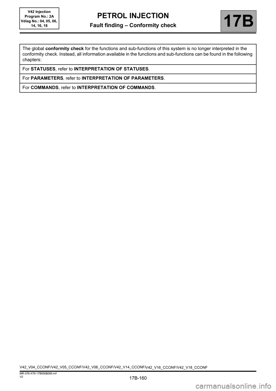 RENAULT KANGOO 2013 X61 / 2.G Petrol V42 Injection Workshop Manual, Page 160