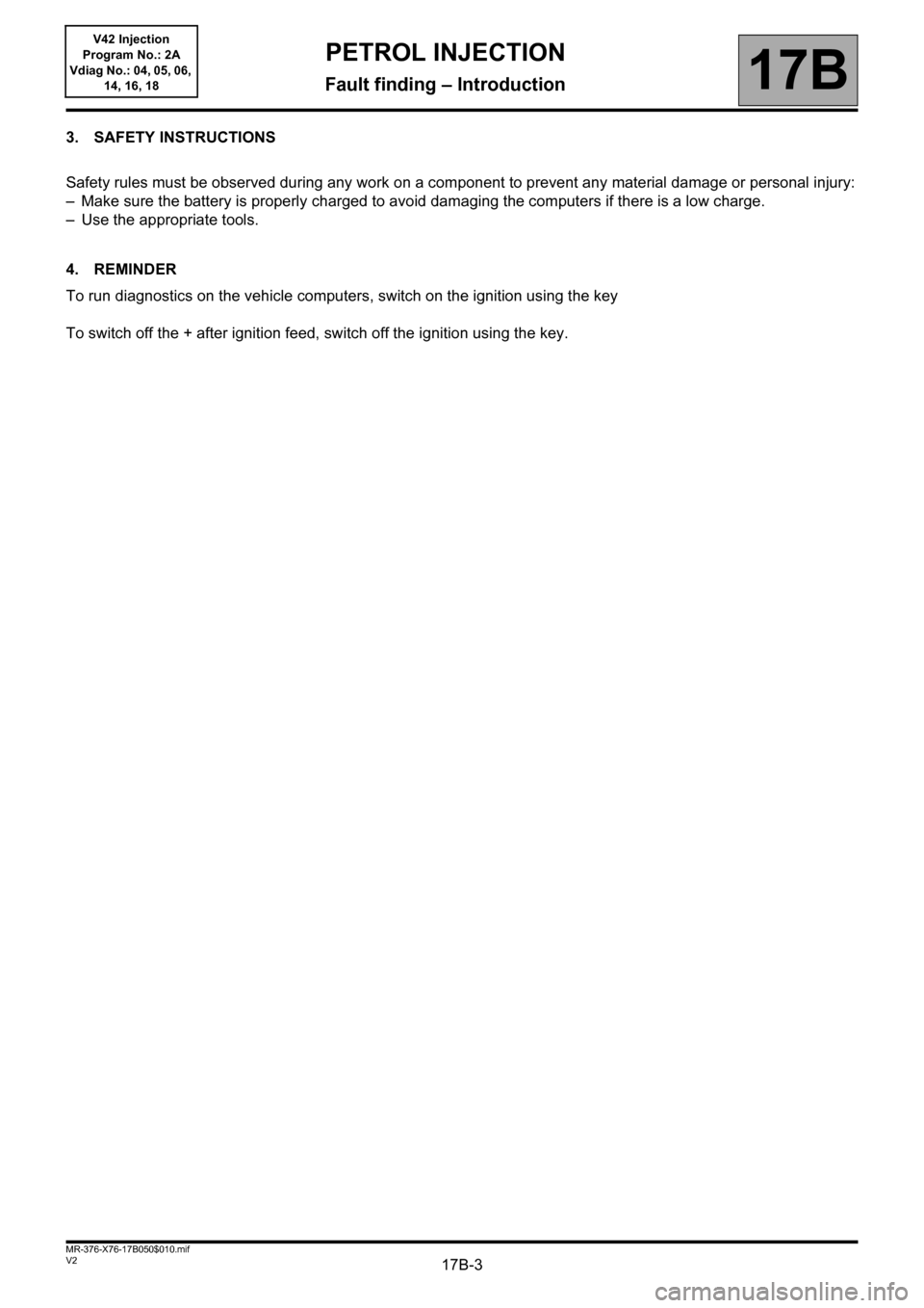 RENAULT KANGOO 2013 X61 / 2.G Petrol V42 Injection Workshop Manual, Page 3