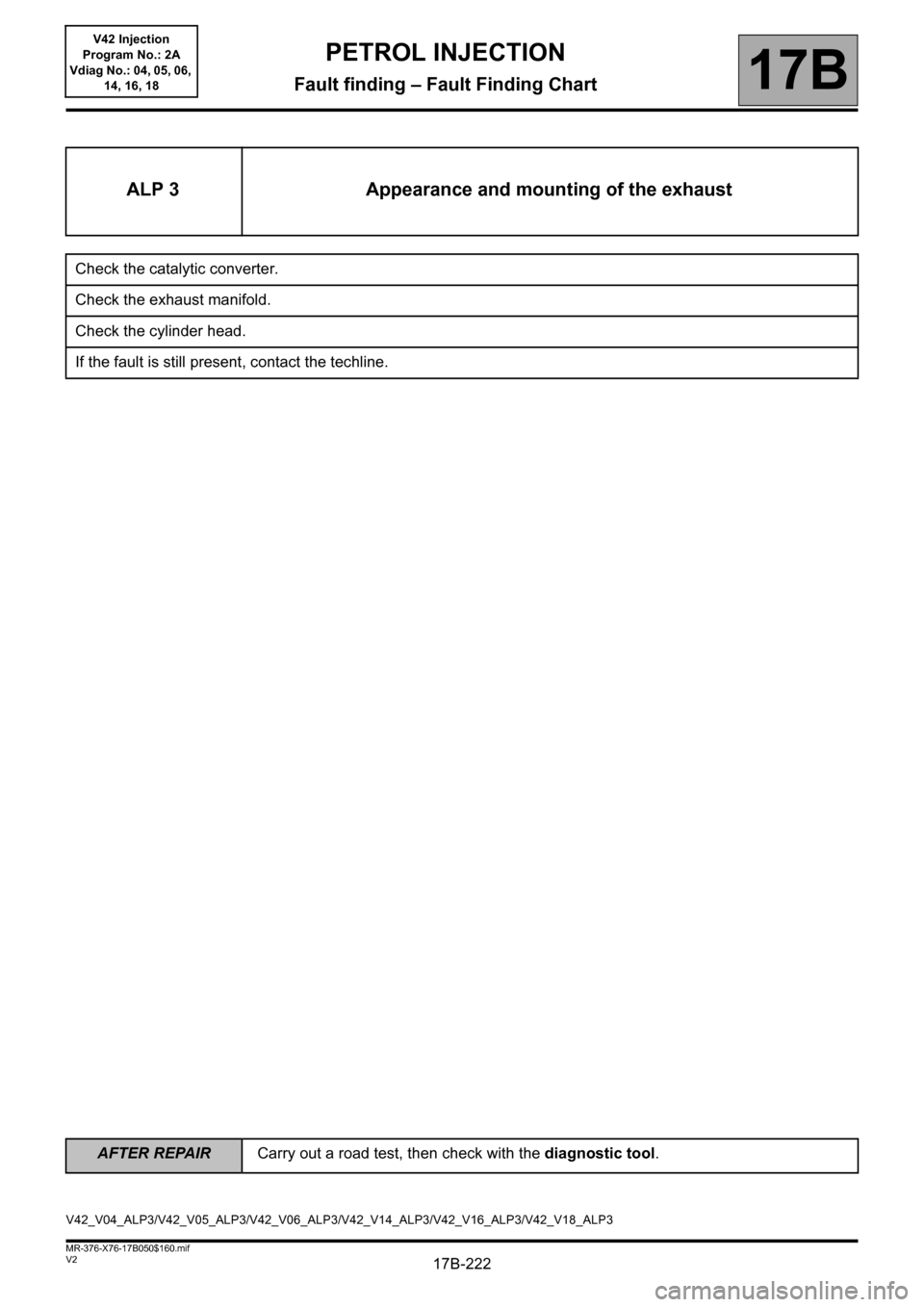 RENAULT KANGOO 2013 X61 / 2.G Petrol V42 Injection Workshop Manual, Page 222