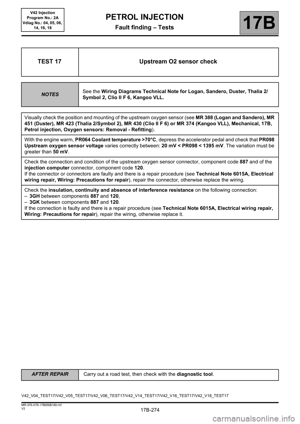 RENAULT KANGOO 2013 X61 / 2.G Petrol V42 Injection Workshop Manual, Page 274