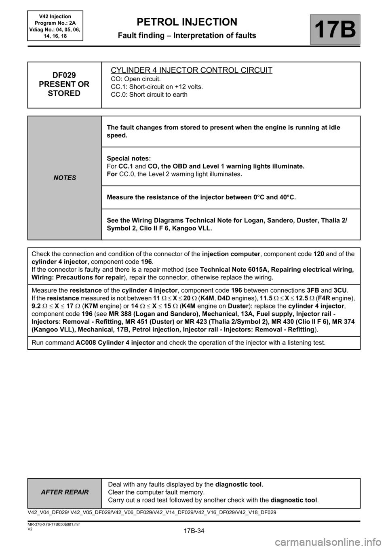 Check Engine Renault Kangoo 2013 X61 2g Petrol V42 Injection Van Wiring Diagram Workshop Manual Page 34