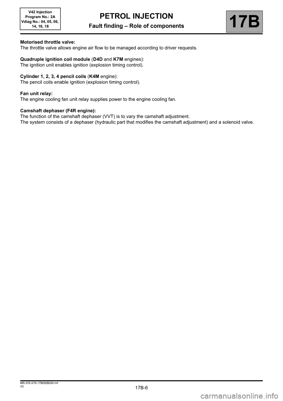 RENAULT KANGOO 2013 X61 / 2.G Petrol V42 Injection Workshop Manual, Page 6