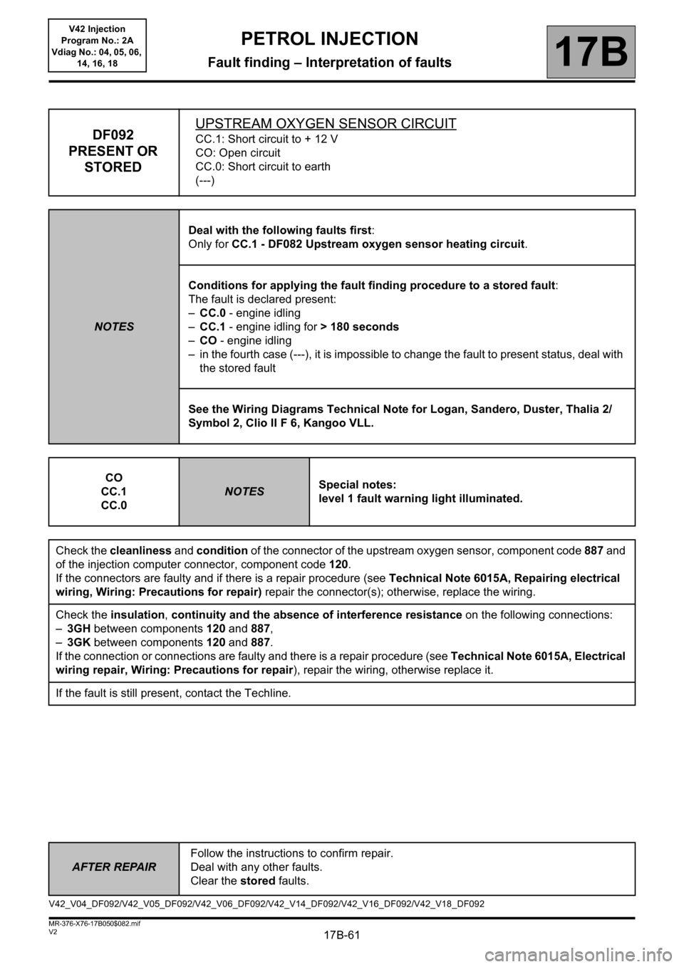 RENAULT KANGOO 2013 X61 / 2.G Petrol V42 Injection Workshop Manual, Page 61