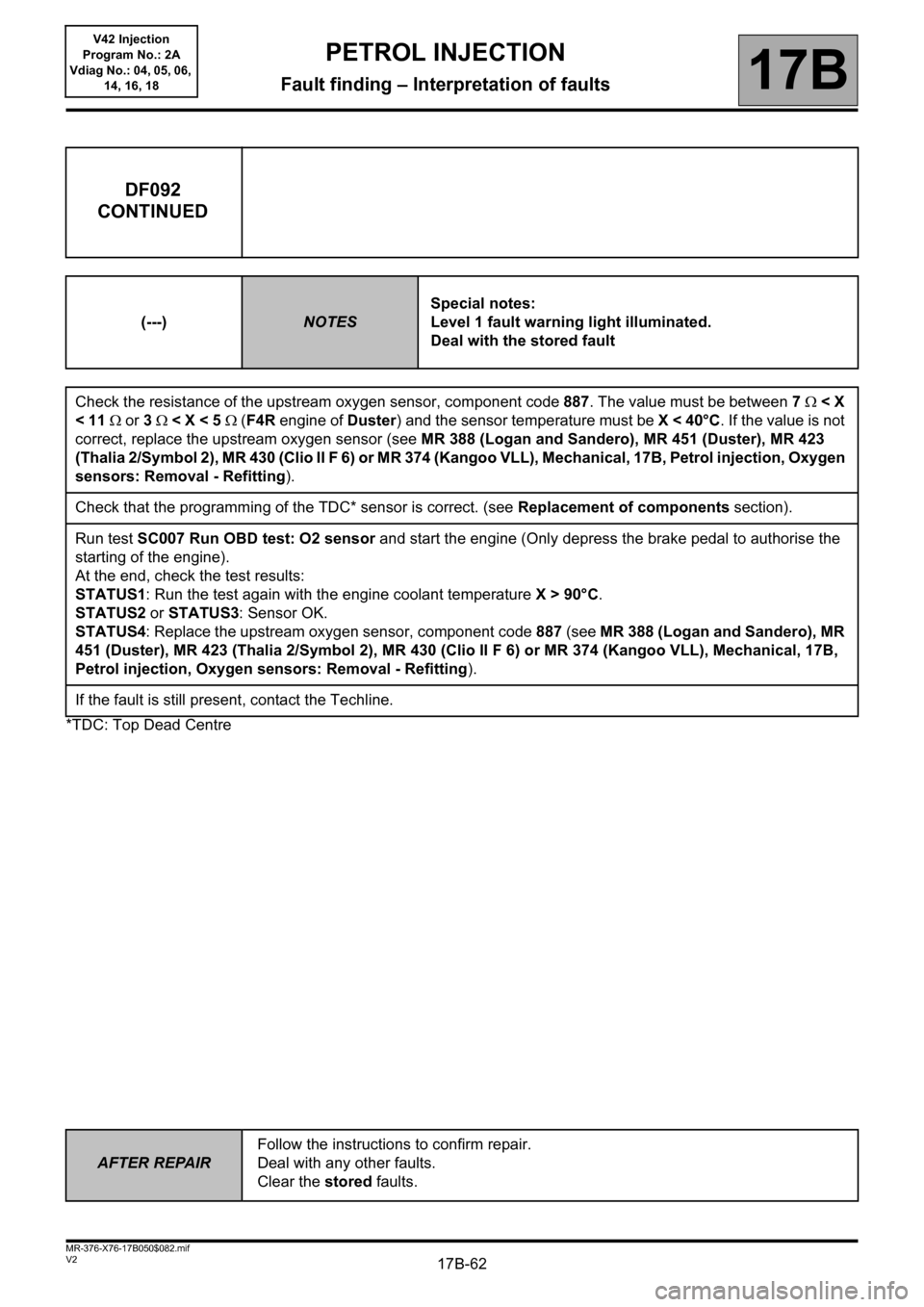 RENAULT KANGOO 2013 X61 / 2.G Petrol V42 Injection Workshop Manual, Page 62