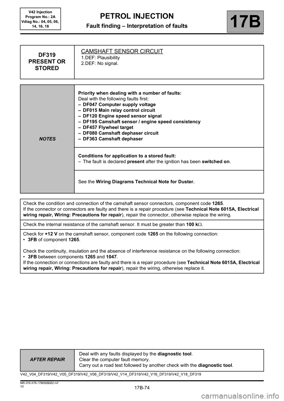 RENAULT KANGOO 2013 X61 / 2.G Petrol V42 Injection Workshop Manual, Page 74