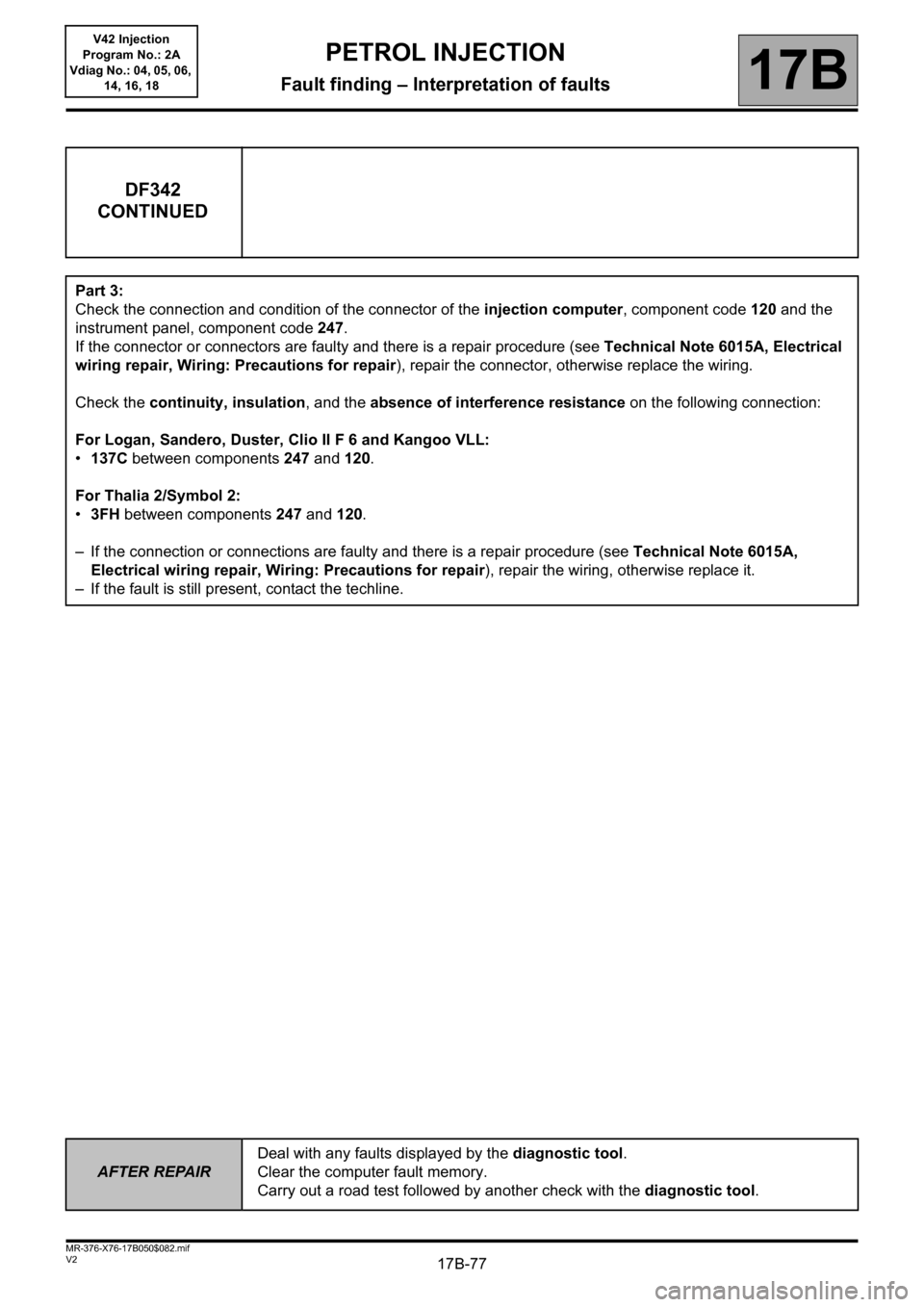 RENAULT KANGOO 2013 X61 / 2.G Petrol V42 Injection Workshop Manual, Page 77