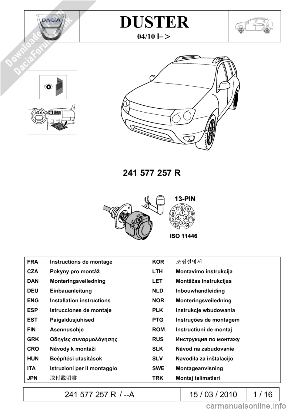 DACIA DUSTER 2010 1.G 13 Pin Towbar Fitting Guide Workshop Manual, Page 1