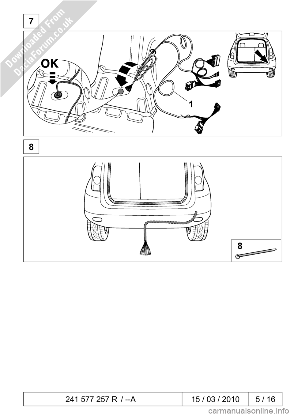 DACIA DUSTER 2010 1.G 13 Pin Towbar Fitting Guide Workshop Manual, Page 5