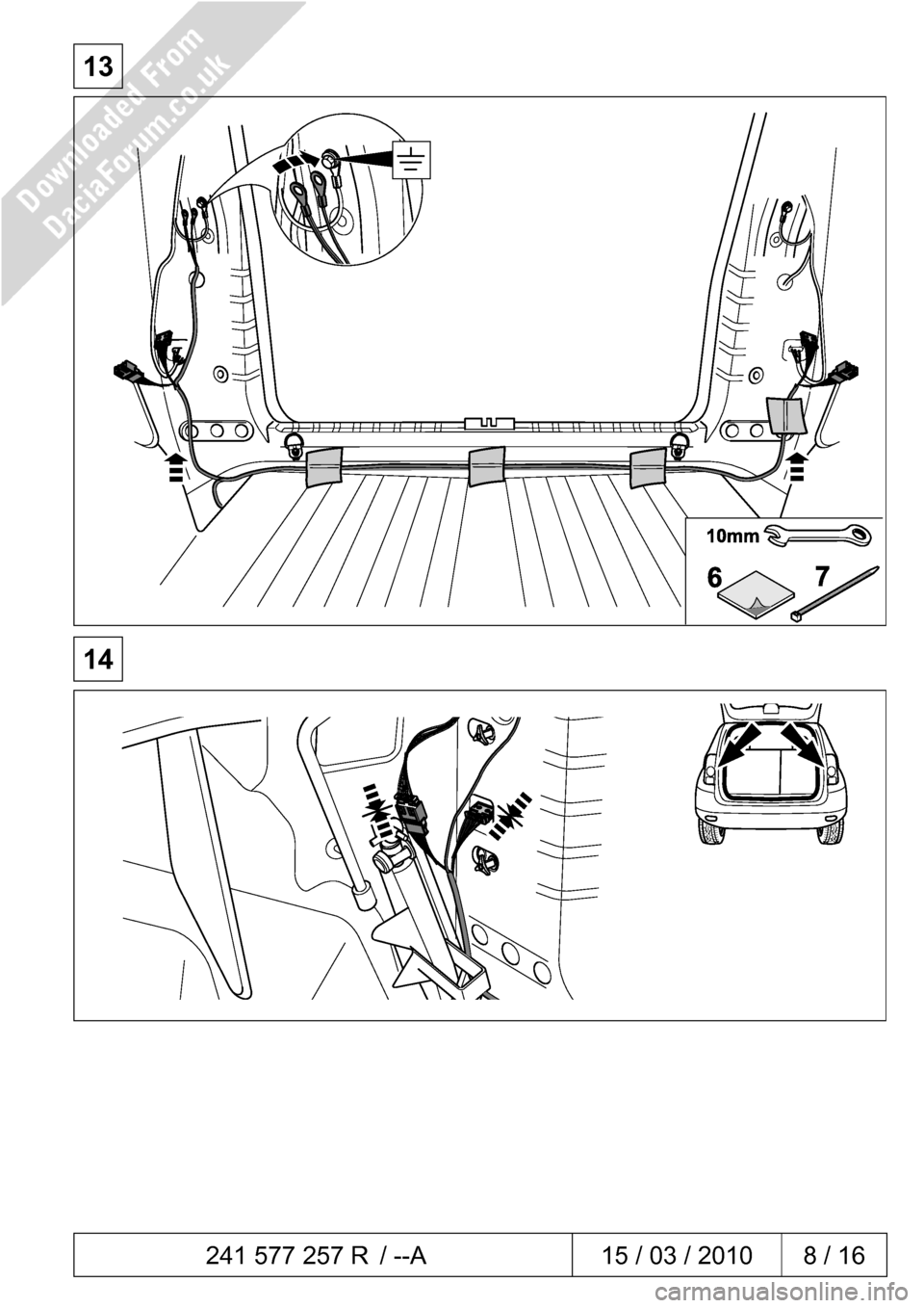 DACIA DUSTER 2010 1.G 13 Pin Towbar Fitting Guide Workshop Manual, Page 8