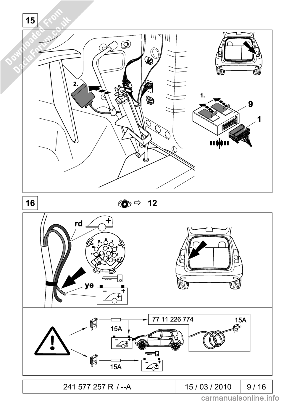 DACIA DUSTER 2010 1.G 13 Pin Towbar Fitting Guide Workshop Manual, Page 9