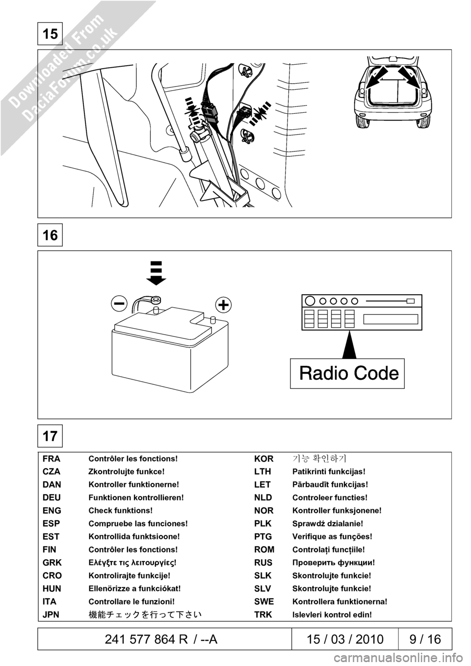 DACIA DUSTER 2010 1.G 7 Pin Towbar Fitting Guide Workshop Manual, Page 9