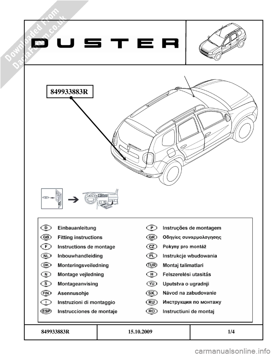 DACIA DUSTER 2010 1.G Bootlip Protector Fitting Guide Workshop Manual, Page 1