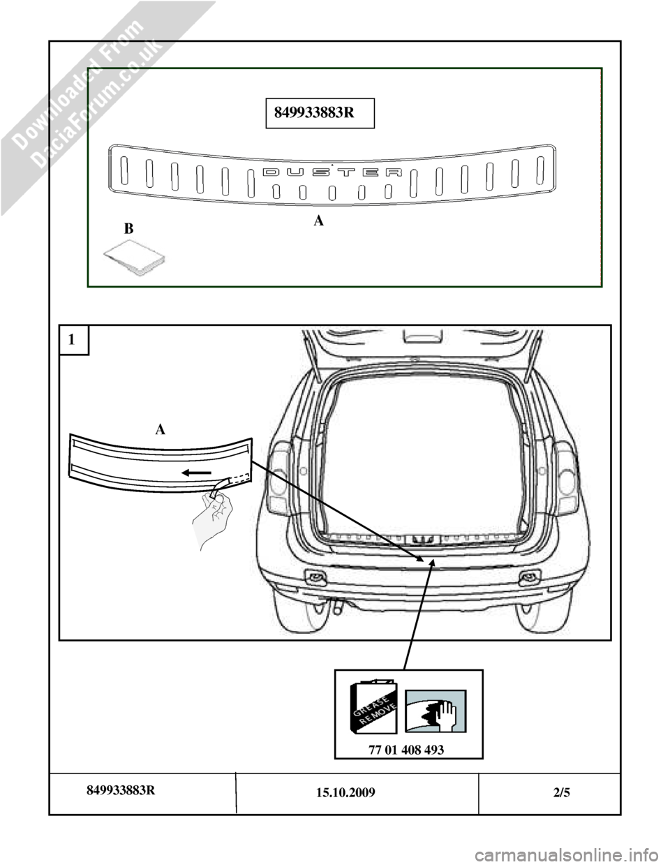 DACIA DUSTER 2010 1.G Bootlip Protector Fitting Guide Workshop Manual, Page 2