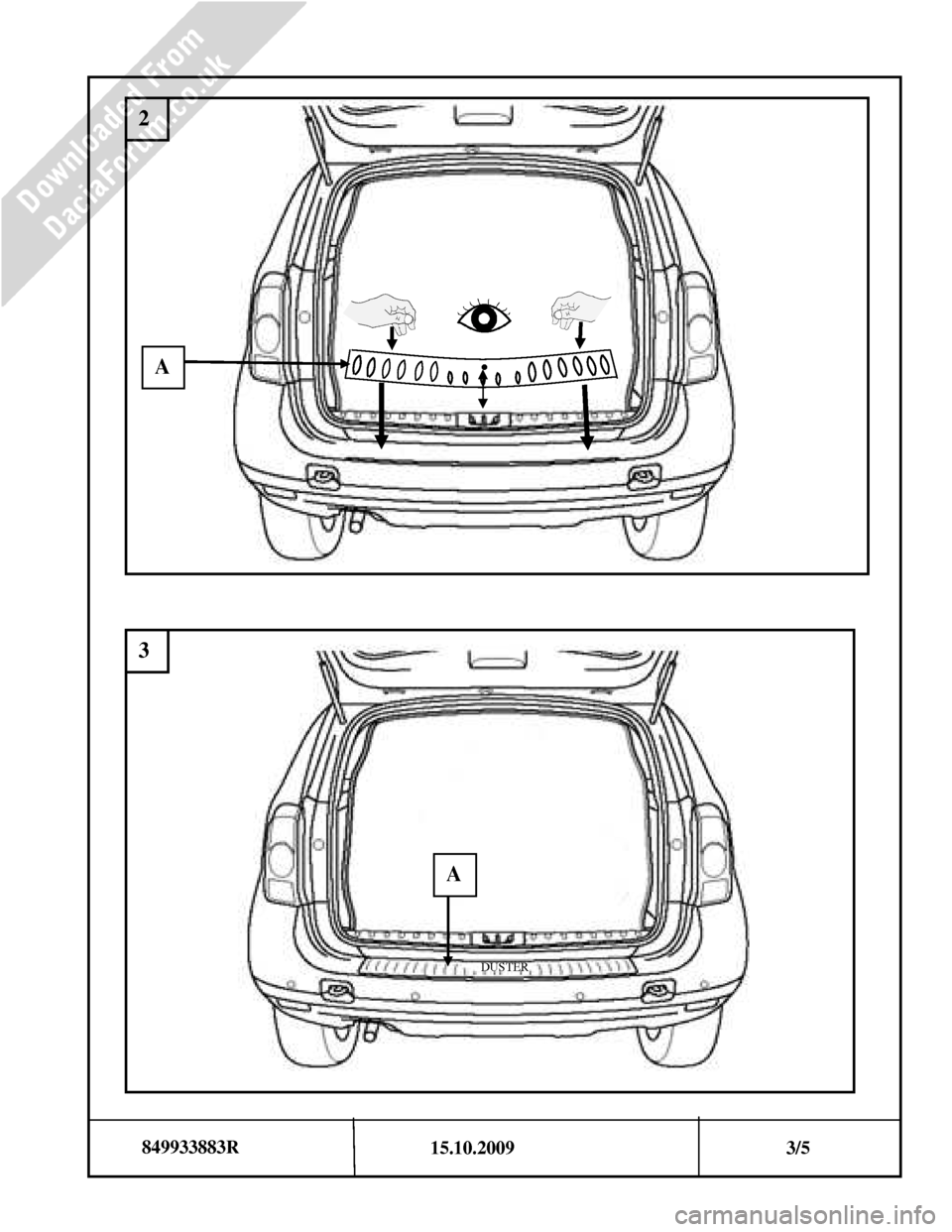 DACIA DUSTER 2010 1.G Bootlip Protector Fitting Guide Workshop Manual, Page 3
