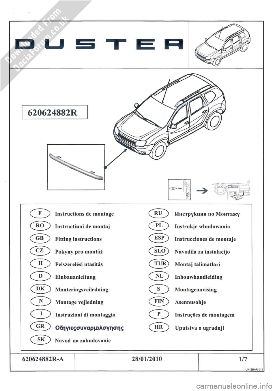 DACIA DUSTER 2010 1.G Front Styling Bar Fitting Guide Workshop Manual, Page 1
