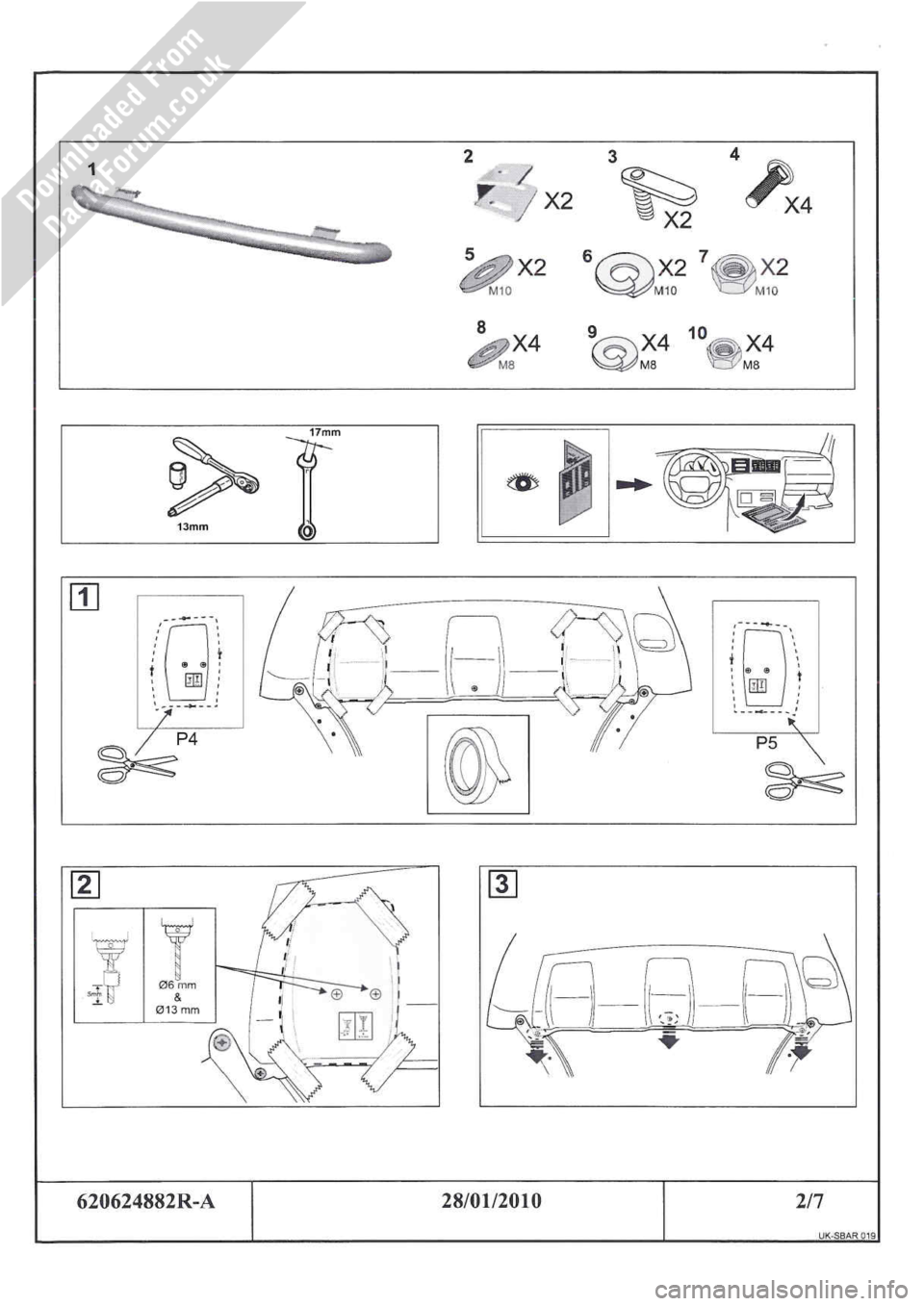 DACIA DUSTER 2010 1.G Front Styling Bar Fitting Guide Workshop Manual, Page 2