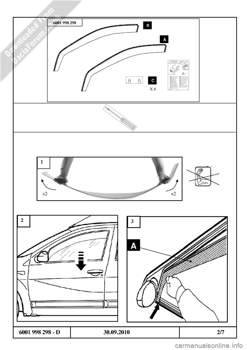 DACIA DUSTER 2010 1.G Wind Deflectors Fitting Guide Workshop Manual, Page 2