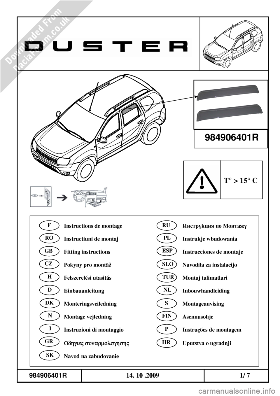 DACIA DUSTER 2010 1.G Wind Deflectors Fitting Guide Workshop Manual, Page 5
