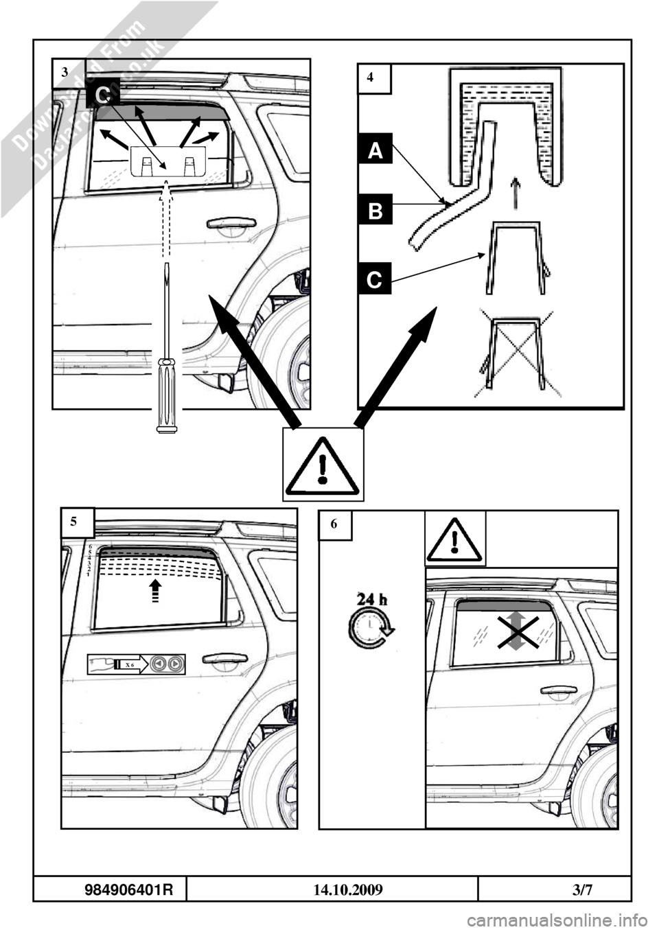 DACIA DUSTER 2010 1.G Wind Deflectors Fitting Guide Workshop Manual, Page 7