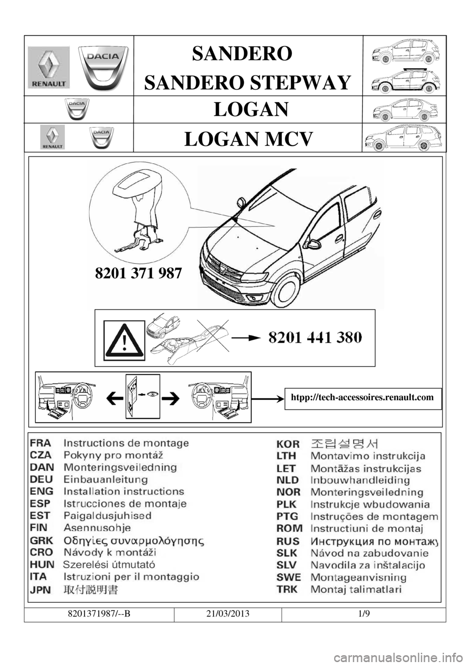 DACIA LOGAN 2013 2.G Fitting Instructions Centre Armrest