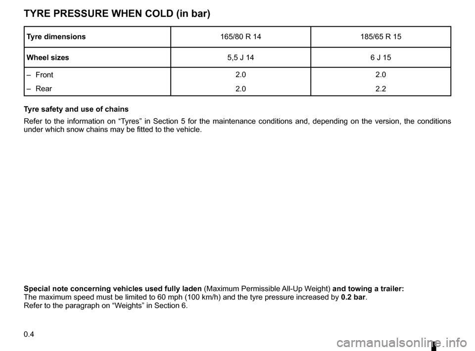DACIA SANDERO 2013 2.G Owners Manual  tyre pressures .......................................(up to the end of the DU)tyres  ......................................................(up to the end of the DU)tyre pressure.....................