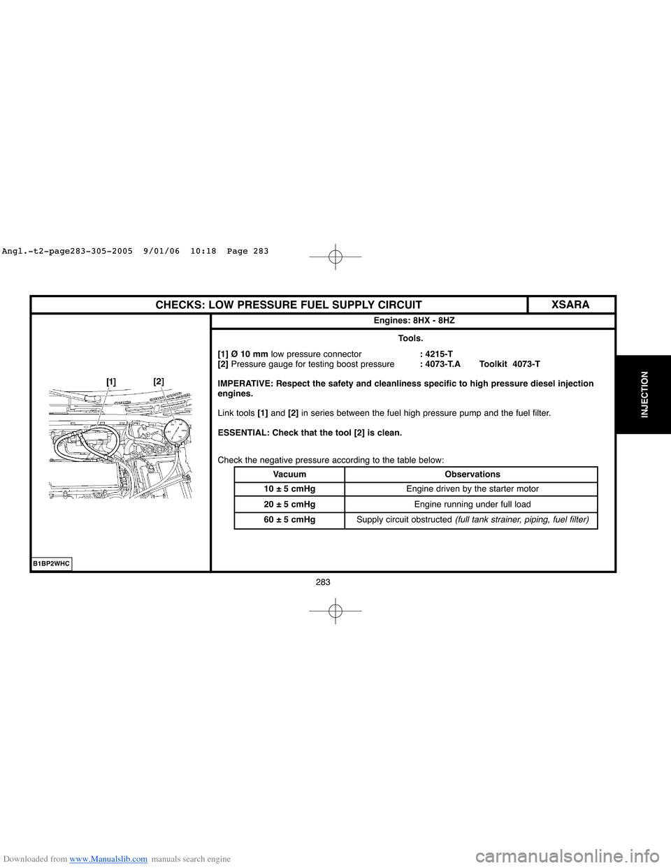 Citroen BERLINGO 2005 1.G Workshop Manual, Page 289