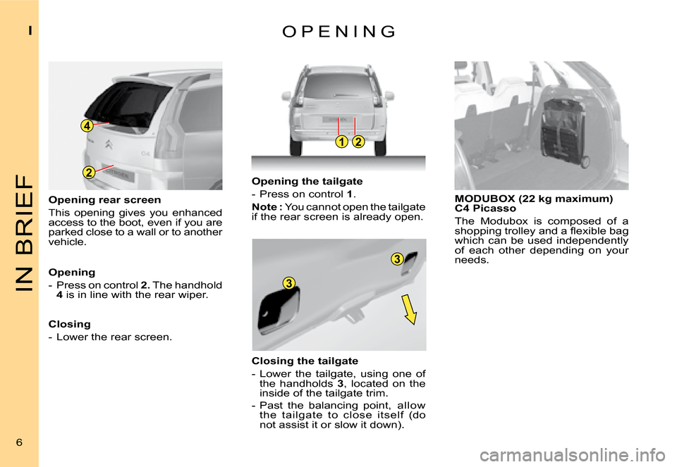 Citroen C4 PICASSO DAG 2008 1.G Owners Manual, Page 3