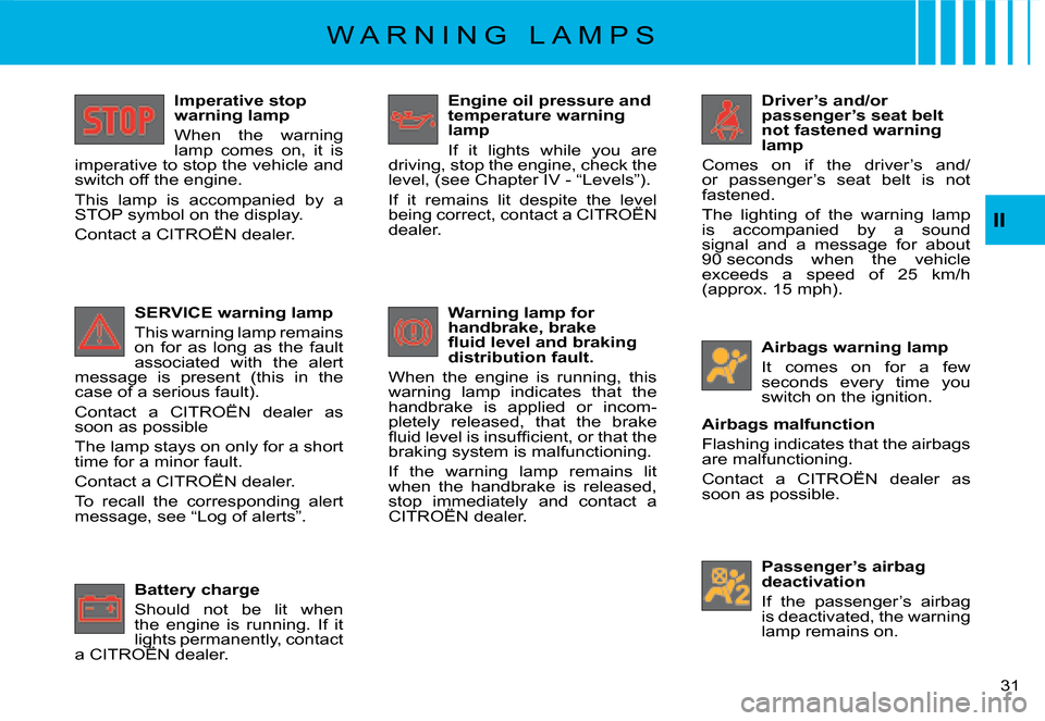 Citroen C8 2008 1.G Owners Manual 31  II Imperative stop   warning lamp  When  the  warning   lamp  comes  on,  it  is  imperative to stop the vehicle and  switch off the engine.   This  lamp  i