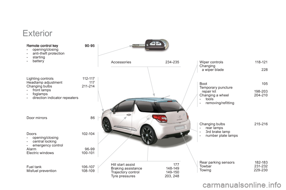 Citroen DS3 2012.5 1.G Owners Manual   Exterior   -  opening/closing  -  anti-theft protection  -  startin g  -  battery Lighting controls   112-117  Headlamp adjustment  117  Changing bulbs   211-214  -  front lamps  -  foglamps -  dire