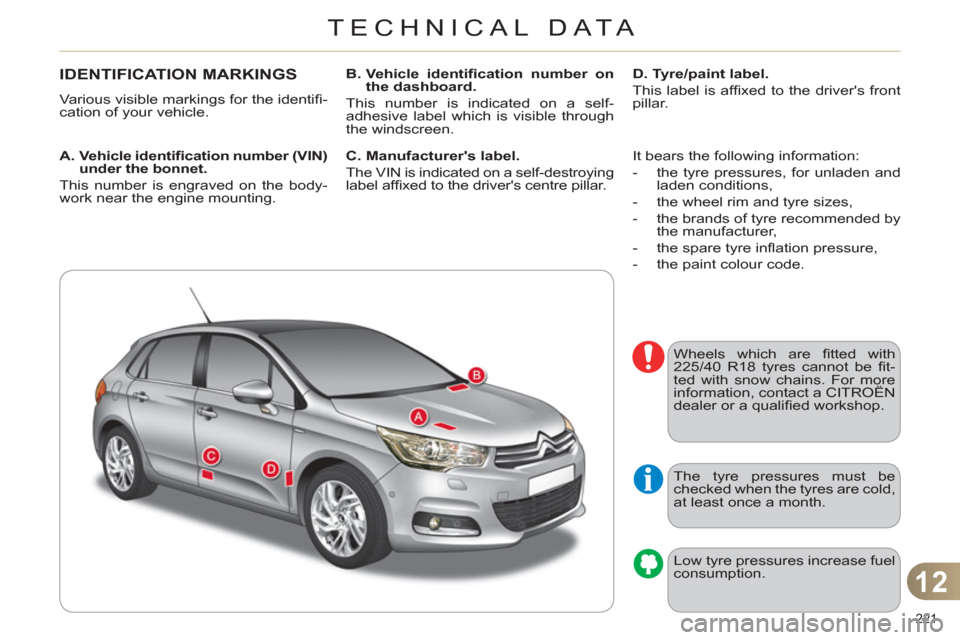 Citroen C4 RHD 2012 2.G Owners Manual, Page 223