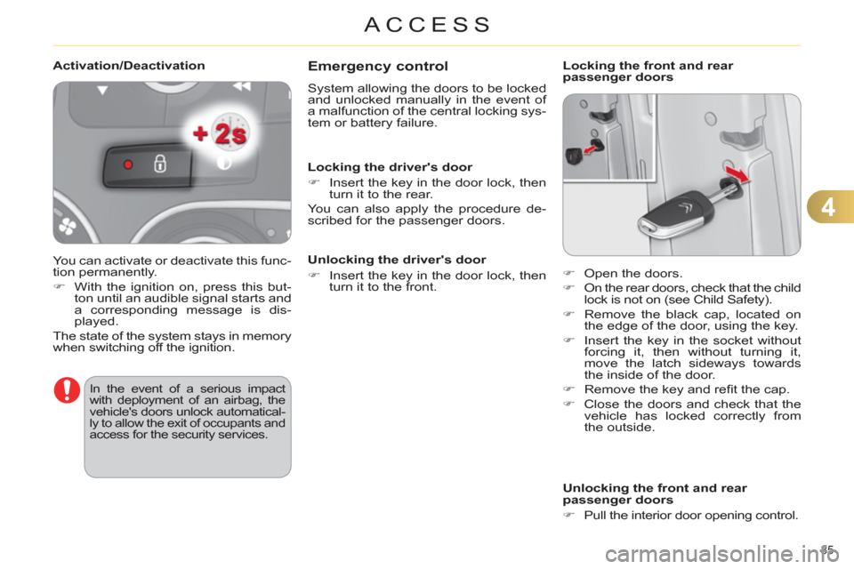 Citroen C4 RHD 2012 2.G Owners Manual, Page 87