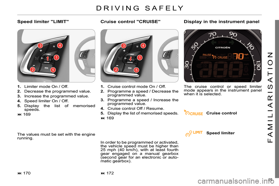 "Citroen C4 RHD 2013.5 2.G Owners Manual 25  FAMILIARISATION     Speed limiter ""LIMIT""     Cruise control ""CRUISE""     Display in the instrument panel      Cruise control         1.    Limiter mode On / Off.      2.    Decrease the programme"